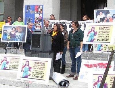 Domestic workers rally in Sacramento. Photo courtesy of Jobs with Justice