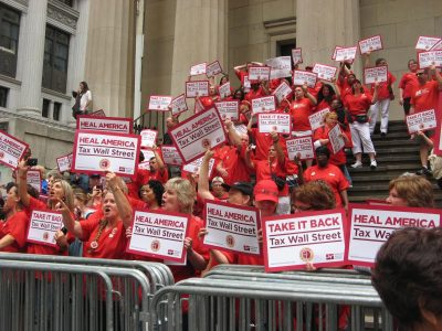 Nurses rally for a financial transaction tax. Photo by Marlee Blasenheim.