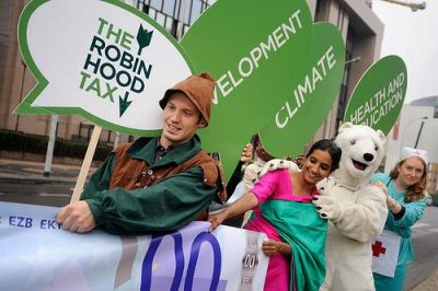 Robin Hood Tax stunt in Brussels, September 2010; photo courtesy of Oxfam International