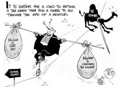 High-Wire CEO, an OtherWords cartoon by Khalil Bendib.