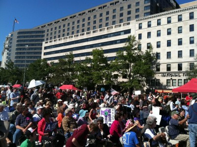 People gathered at Freedom Plaza to launch Occupy DC
