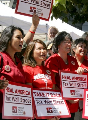 Nurses call for taxing Wall Street