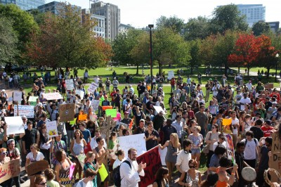 Occupiers in Boston hold a rally during the day, before the police arrests. Photo by Andrea Gordillo.