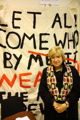 Guardian columnist Polly Toynbee visits last year's occupation of University College London. Photo by ucloccupation.