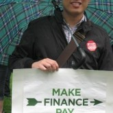 Kevin Shih protests on K Street: Make Finance Pay