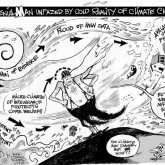 Climate Denial Man, an OtherWords cartoon by Khalil Bendib.