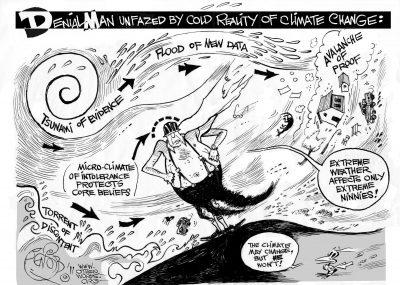 Climate Denial Man, an OtherWords cartoon by Khalil Bendib.