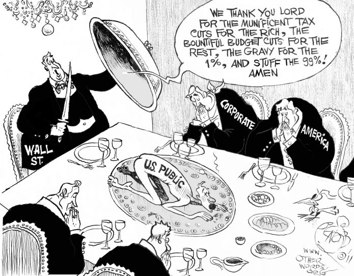 Thanksgiving on Wall Street, an OtherWords cartoon by Khalil Bendib.