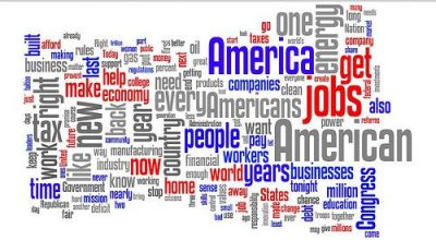 A wordle of President Obama's 2012 State of the Union speech. By Kurtis Garbutt.