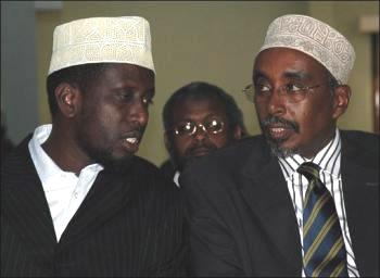 President Sharif Sheikh Ahmed (left) confers with Speaker Sharif Hassan Sheikh Aden