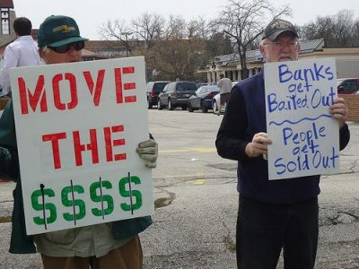 Protesters at a Move Your Money action in Wisconsin. Photo by Karen Hickey.