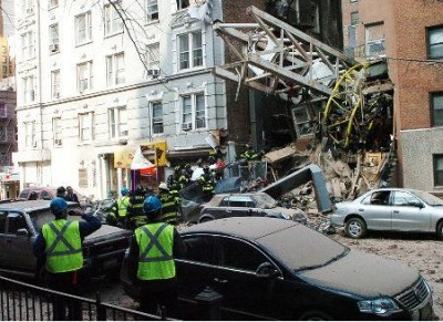 Another collapse in Manhattan. Photo by NY Daily News.
