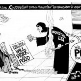 Pee for Food, an OtherWords cartoon by Khalil Bendib.