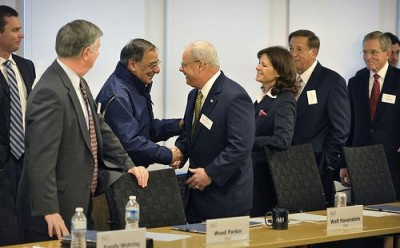 Secretary Panetta meets with the Aerospace Industries Association, which has substantially exaggerated potential job losses in the Defense industry. Photo by Department of Defense/Flickr.