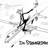 Dr. Strangedrone, an OtherWords cartoon by Khalil Bendib.
