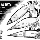 Nuclear Alert, an OtherWords cartoon by Khalil Bendib.