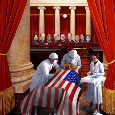 Supreme Court rules on ObamaCare. Illustration by DonkeyHotey.