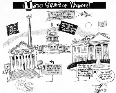 """The United States of Walmart,"" an OtherWords cartoon by Khalil Bendib."