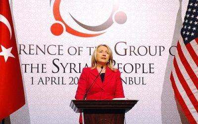 Hillary Clinton speaks about Syria in Istanbul. Photo by U.S. State Department.