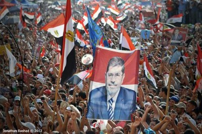 Egyptians rallied in Tahrir Square to celebrate the election of Mohamed Morsi. Photo by Jonathan Rashad / Flickr.