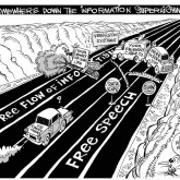Super Highway Robbery, an OtherWords cartoon by Khalil Bendib