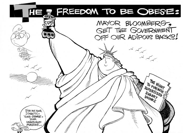 Supersized Liberty, an OtherWords cartoon by Khalil Bendib
