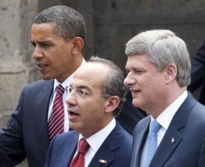U.S. President Barack Obama, Mexican President Felipe Calderon, and Canadian Prime Minister Stephen Harper