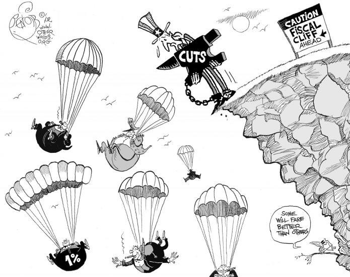 Caution, Fiscal Cliff Ahead, an OtherWords cartoon by Khalil Bendib