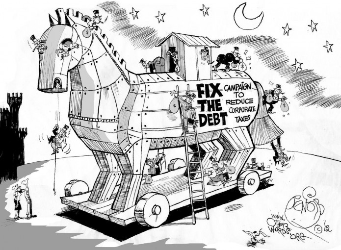 The 'Fix the Debt' Racket, an OtherWords cartoon by Khalil Bendib