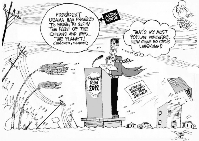 Sandy Trumps Romney's Climate Joke, an OtherWords cartoon by Khalil Bendib
