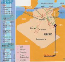 Algerian oil and gas pipelines (In Amenas circled).