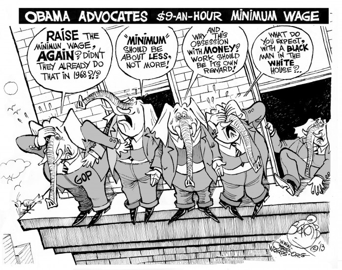 Minimum Wage, Maximum Drama, an OtherWords cartoon by Khalil Bendib