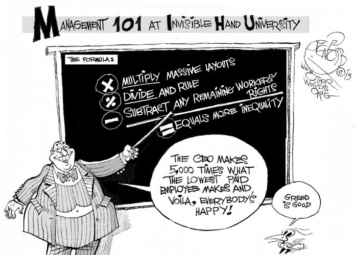 Invisible Hand University, an OtherWords cartoon by Khalil Bendib