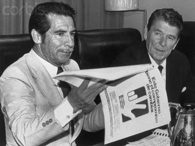"Ronald Reagan meets with Efraim Rios Montt. ""Another chapter needs to be opened with a more thorough examination of the relationship between Montt, the Guatemalan military and the United States government which, if examined objectively, establishes a clear chain of moral and legal culpability."""