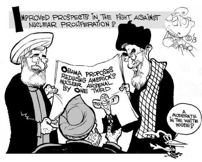 Iran Takes Note of a Non-Proliferation Breakthrough, an OtherWords cartoon by Khalil Bendib