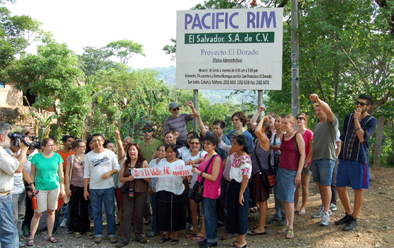 Delegation protest at the site of Pacific Rim mine in Cabanas, El Salvador. Photo by Ron Carver.