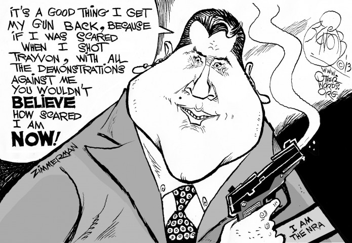 Zimmermans Smoking Gun, an OtherWords cartoon by Khalil Bendib
