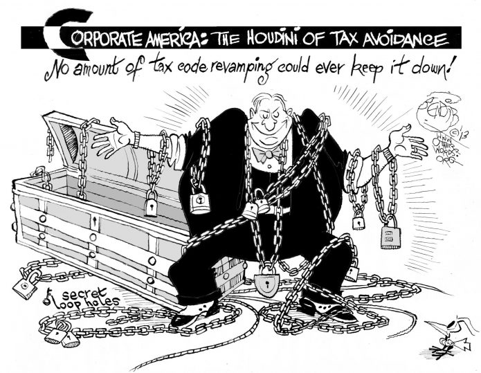 Tax Houdini, an OtherWords cartoon by Khalil Bendib
