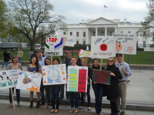 Interns join staff at White House protest