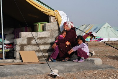 Syrian mother with children