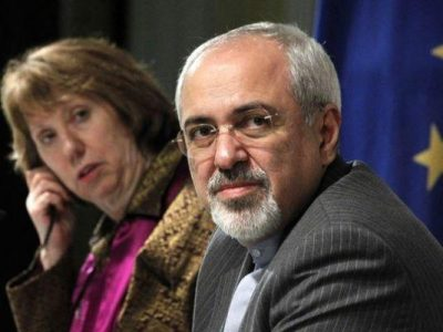Iranian Foreign Minister Mohamed Javad Zarif and EU Foreign Affairs chief Catherine Ashton.