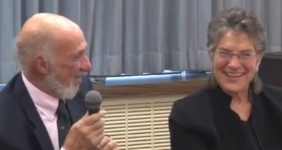 Phyllis Bennis with Richard Falk, UN Special Rapporteur on Human Rights in the occupied territory, speaking at the Church Center for the United Nations when Richard presented his most recent report to the General Assembly.