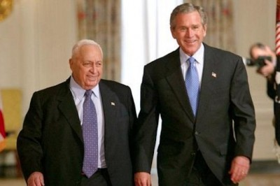 Former Israeli Prime Minister Ariel Sharon with former U.S. President George W. Bush, April 2004 (White House Photo)