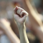 Raised fist in solidarity