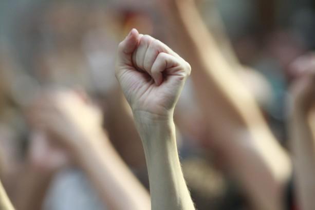 Raised fist in solidarity