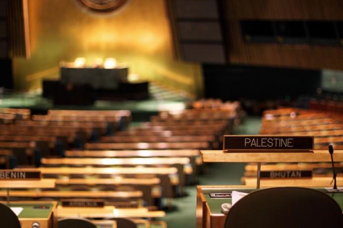 Palestine sign at UN