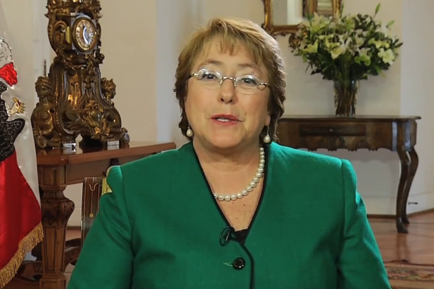 Chilean President Michelle Bachelet addresses Letelier-Moffitt awardees