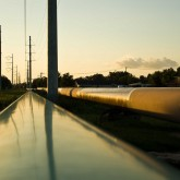 A pipeline in the late evening sun