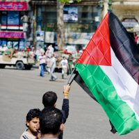 Palestinian flag carried by protestor