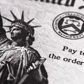 Statue of Liberty on a U.S. tax return.